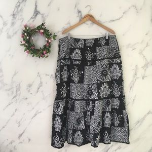Real Clothing Co Cotton Linen Floral Maxi Skirt